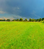 Thunderstorm field. In summer country Royalty Free Stock Image