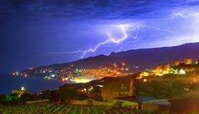 Thunderstorm. Heavy thunderstorm in night city Royalty Free Stock Photos