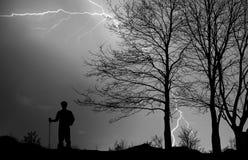 Thunderstorm Hiker Royalty Free Stock Photos