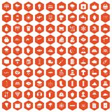 100 thunderstorm icons hexagon orange Stock Image