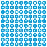 100 thunderstorm icons set blue. 100 thunderstorm icons set in blue hexagon isolated vector illustration Stock Photo