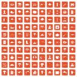 100 thunderstorm icons set grunge orange. 100 thunderstorm icons set in grunge style orange color isolated on white background vector illustration stock illustration