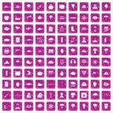 100 thunderstorm icons set grunge pink. 100 thunderstorm icons set in grunge style pink color isolated on white background vector illustration royalty free illustration