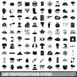 100 thunderstorm icons set, simple style. 100 thunderstorm icons set in simple style for any design vector illustration Stock Images