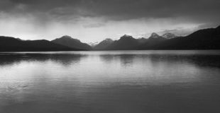 Thunderstorm, Lake McDonald,. Black and white photo of a Thunderstorm, Lake McDonald, Glacier National Park, in Montana USA royalty free stock photo