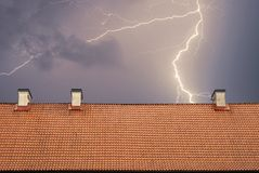 Thunderstorm with lightening. Top of the roof at night Stock Image