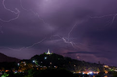 Thunderstorm with lightning bolts on the Thai Stock Photo