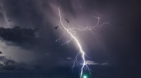 Thunderstorm with lightning bolts on the Thai island Stock Images