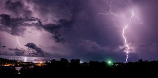 Thunderstorm with lightning bolts on the Thai island Royalty Free Stock Photos
