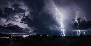 Thunderstorm with lightning bolts on the Thai island Stock Photography