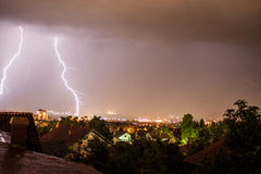 Thunderstorm lightning in the city. Royalty Free Stock Photography