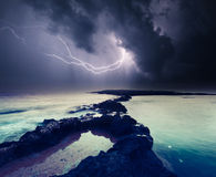 Thunderstorm with lightning. Dark ominous clouds. Thunderstorm with lightning. Volcanic island of Malta. Qawra, Europe. Beauty world Stock Images