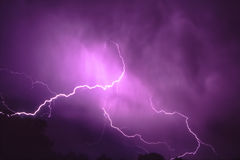 Thunderstorm Lightning in Illinois Stock Images