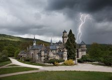 Thunderstorm with lightning in Lowenburg castle Stock Image