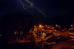Thunderstorm with lightning over the houses at residential area at Moscow suburb Stock Photography