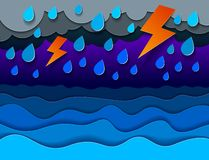 Thunderstorm with lightning over the sea with curvy waves rainy weather, perfect modern vector illustration. In paper cut 3d style stock illustration
