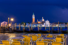Thunderstorm with lightning on San Marco and Grand Canal in Venice Royalty Free Stock Image