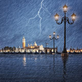 Thunderstorm with lightning in the sky on the Grand Canal royalty free stock photos