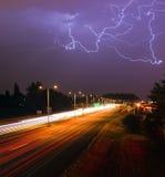 Thunderstorm Lightning Srikes Over Tacoma Washington I-5 Highway Stock Photo