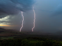 Thunderstorm with Lightnings. Bavarian Thunderstorm in Autumn. Cloudy Dramatic Sky in Germany, Europe. Extremely Bad Weather. Two Lightnings Royalty Free Stock Photography