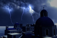 Thunderstorm Lightnings over Greece Concept for economical trouble in Greece Stock Photos