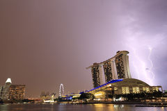 Thunderstorm in Marina Bay ,Singapore. View of thunderstorm in Marina Bay ,Singapore Royalty Free Stock Photography