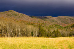 A thunderstorm moves in over the mountians Royalty Free Stock Image