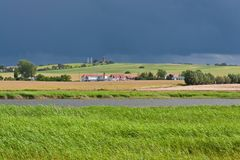 Thunderstorm at nature protection area Riedensea Royalty Free Stock Photos