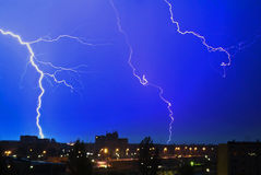 Thunderstorm at Night in the City Royalty Free Stock Photo