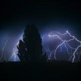 Thunderstorm night lightning Stock Images