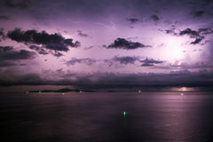 Thunderstorm. Night storm in Thailand islands Royalty Free Stock Photo