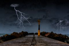 Thunderstorm on the ocean. Coast of the Basque country, Notice of gale and storm royalty free stock photos