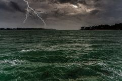 Thunderstorm on the ocean. La Trinité sur Mer - Notice of gale and storm stock photo