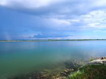 Thunderstorm over the Adriatic ocean in Italy. Near Grado stock images
