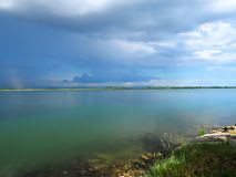 Thunderstorm over the Adriatic ocean in Italy. Near Grado royalty free stock photography