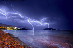 Thunderstorm over Adriatic sea coastline. Royalty Free Stock Photography