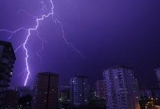 Lightning storm over Beylikduzu, Istanbul. Thunderstorm over Beylikduzu, Istanbul, Turkey royalty free stock image
