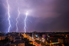 Thunderstorm. Over Bucharest at night Royalty Free Stock Photos