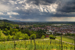 Thunderstorm over the city of Bensheim Stock Photo
