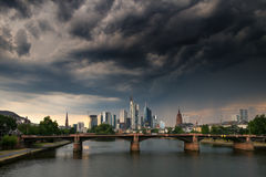Thunderstorm over the city of Frankfurt am Main Royalty Free Stock Images