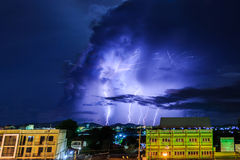Thunderstorm over city. Royalty Free Stock Images