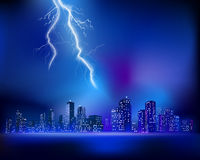 Thunderstorm over the City. Vector illustration Stock Images