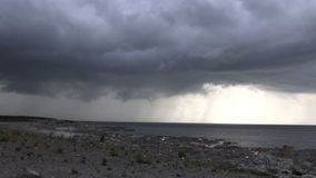 Thunderstorm over coast and ocean at faro - Sweden Stock Photos