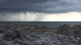 Thunderstorm over coast and ocean at faro - Sweden Stock Photo