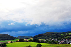 Thunderstorm over the heights of the Swabian Alb Stock Photo