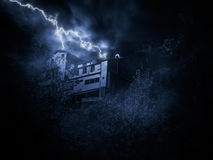 Thunderstorm over house on a hill Royalty Free Stock Images
