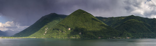Thunderstorm over Lake Lugano Royalty Free Stock Photo