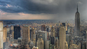 Thunderstorm over Manhattan Stock Photos