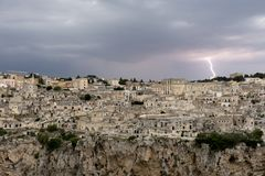 Thunderstorm over matera. stock images