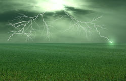 Thunderstorm over Meadow. With Lightning Strike-  - all kept in a greenish-colour Royalty Free Stock Images